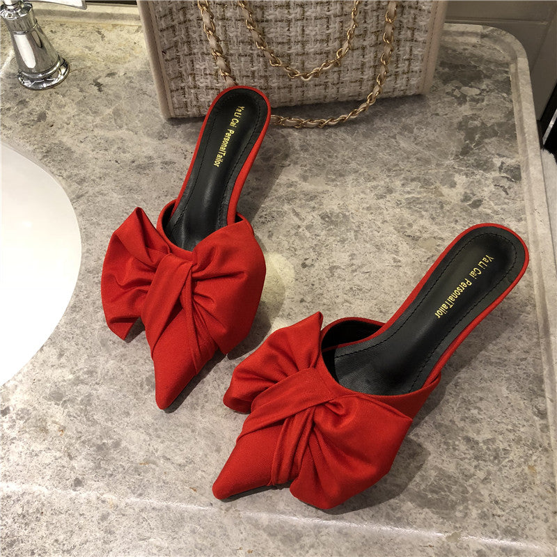 Pointed-Toe Korean Style Polka Dot Bow Thin Heeled Women's Slippers