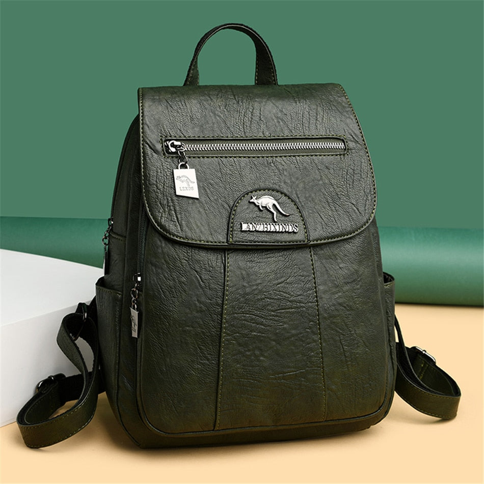 Vintage Genuine Leather Green School Backpack For Women