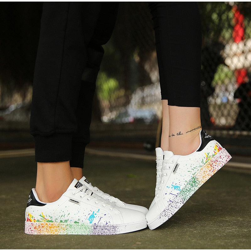 Colorful Graffiti Platform Women Flat Sneakers