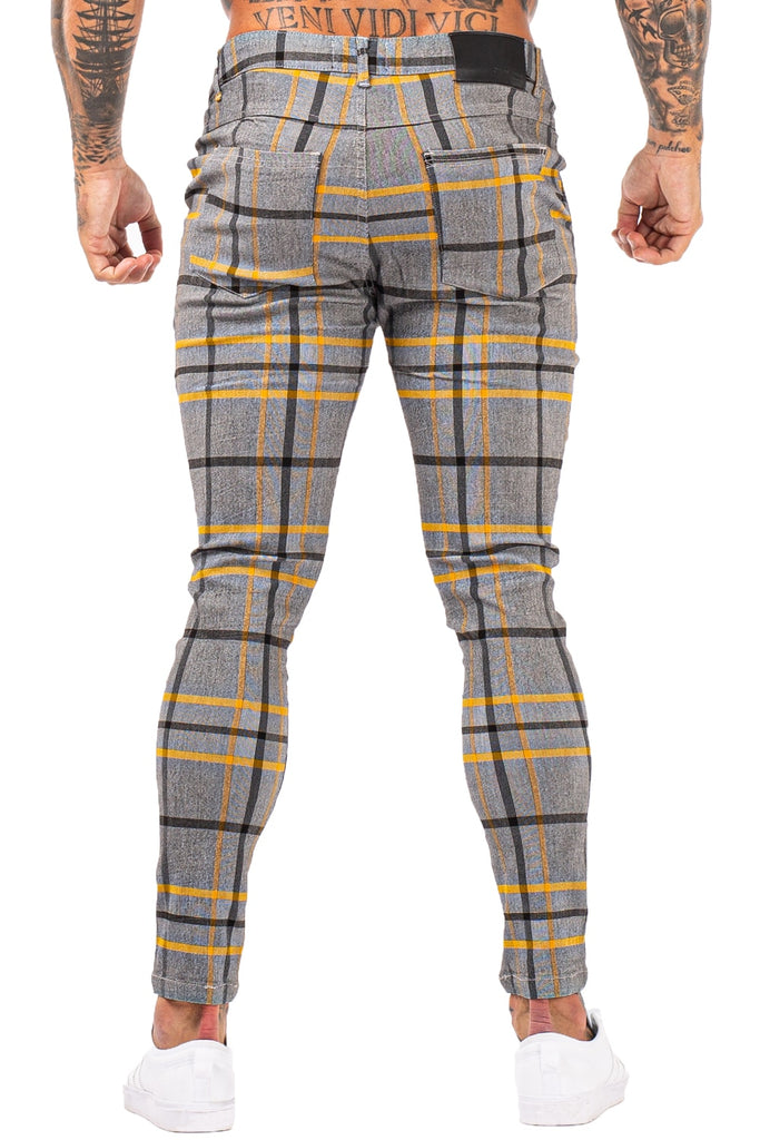 Super Stretch Slim Fit Skinny Plaid Men Chinos Trousers