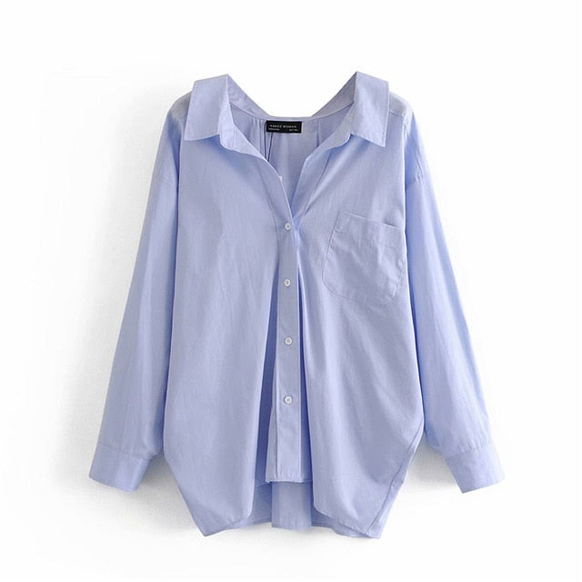 Casual Turn-down Collar Loose Blue Poplin Shirts For Women
