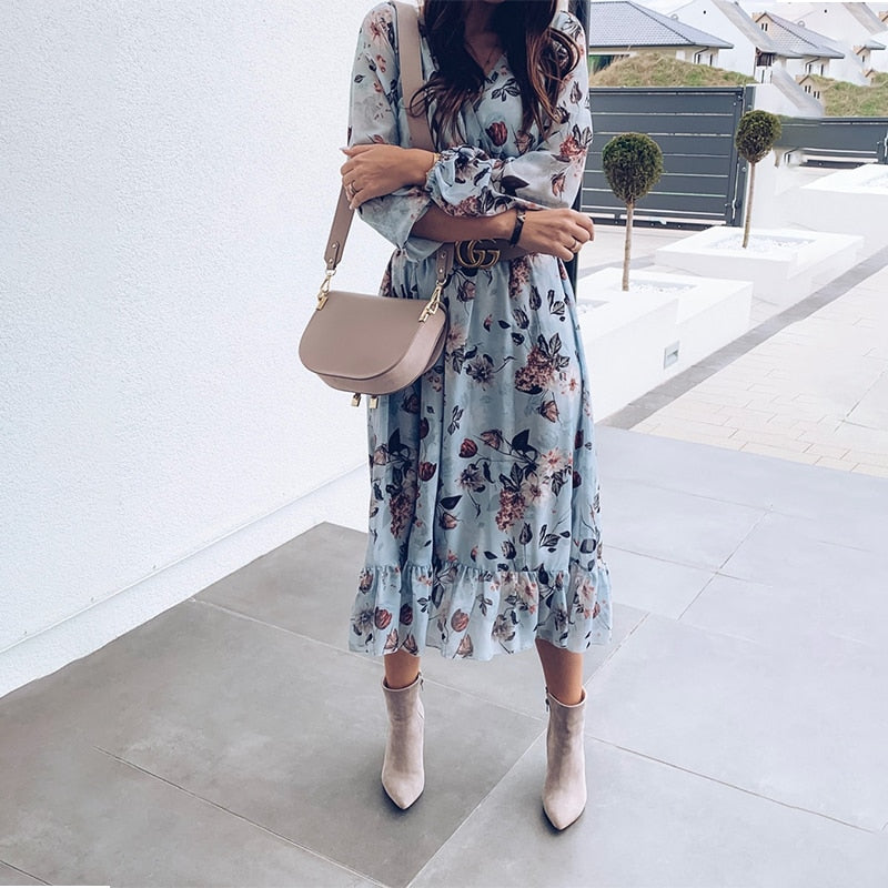 Boho Floral Printed Ruffles Blue Maxi Dress
