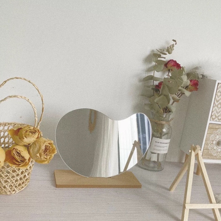 Irregular Acrylic Makeup Decorative Mirror With Wooden Base