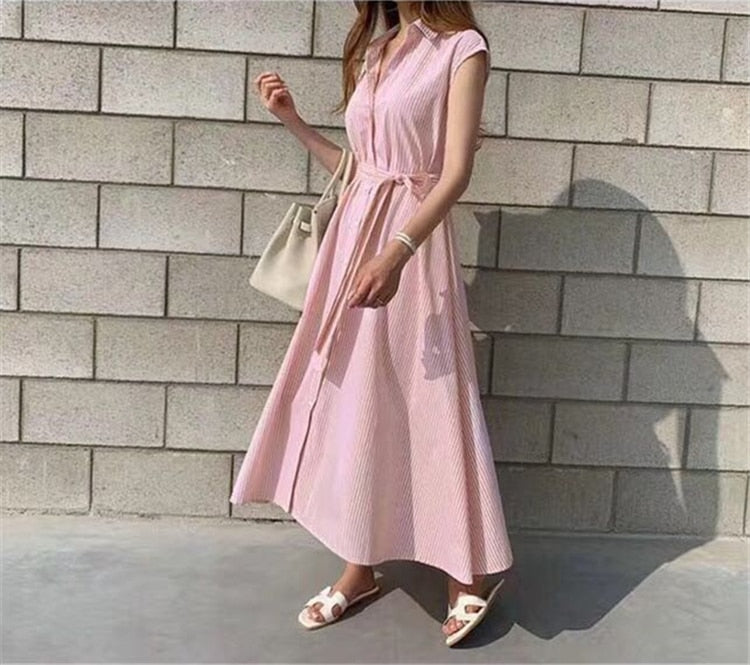 Sleeveless Striped Lace-Up Pink Summer Shirt Dress