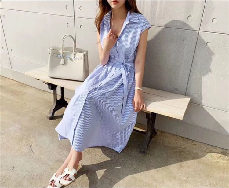 Sleeveless Striped Lace-Up Blue Summer Shirt Dress