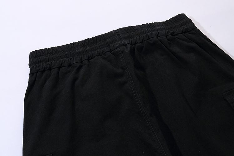 Elastic Waist Hip Hop Ribbons Black Men Cargo Pant