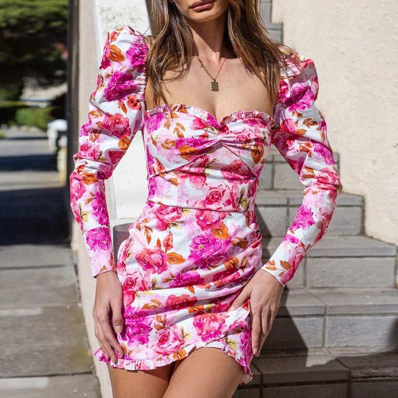 Floral Printed Long Sleeve Ruched Ruffles Mini Pink Dress