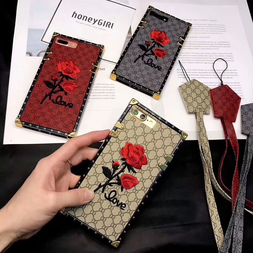 Luxury Embroidery 3D Rose Phone Case For IPhone Devices