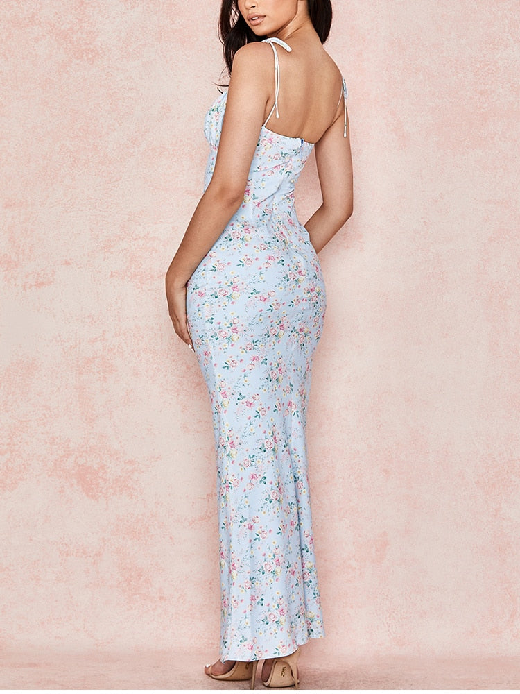 Bandage Backless Sleeveless Ruched Blue Floral Maxi Dress
