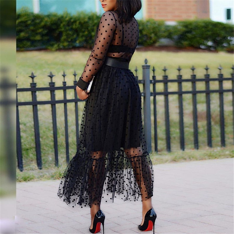 Two Pieces Set Polka Dot See Through Mesh Tops & Pleated Black Tulle Skirt