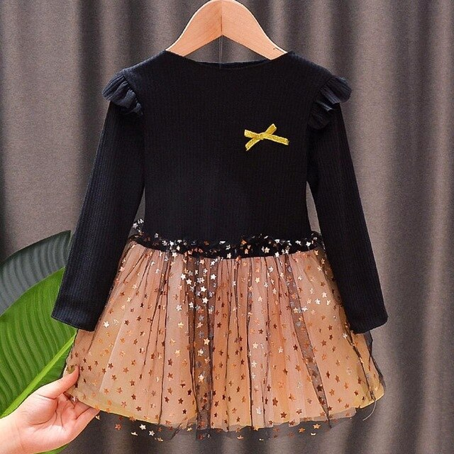 Cute Full Sleeve Star Printed Knitting Black Dress For Girls