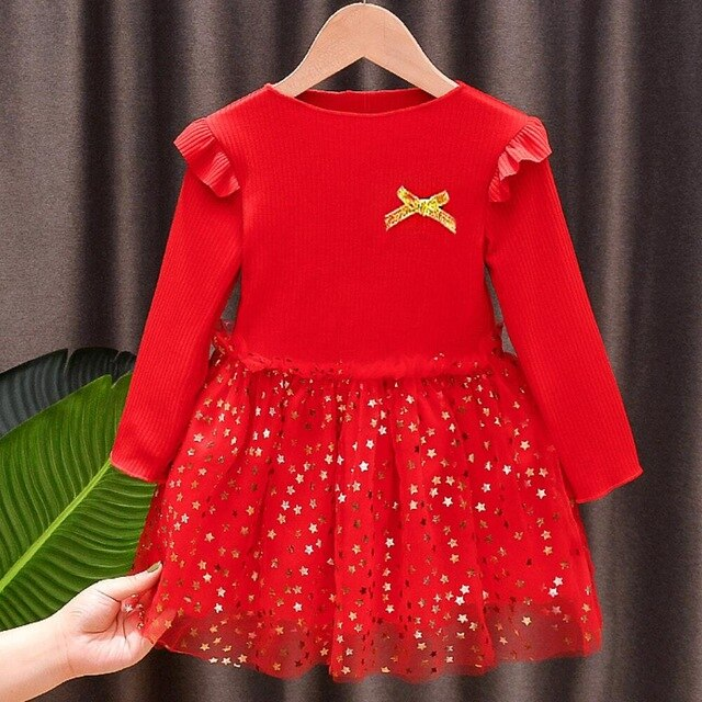 Cute Full Sleeve Star Printed Knitting Red Dress For Girls