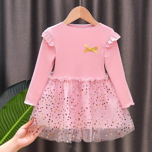 Cute Full Sleeve Star Printed Knitting Pink Dress For Girls