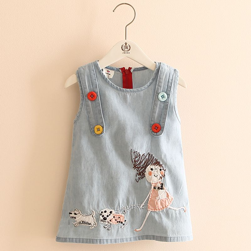 O-Neck Embroidery Cartoon Dog Tank Vest Little Girl Dress