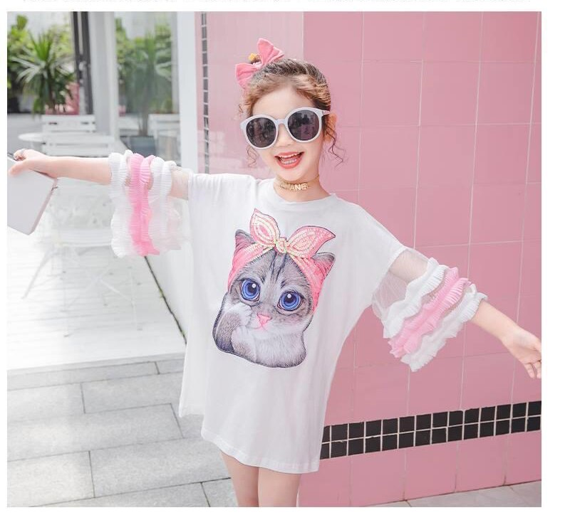 4-14Yrs Puff Sleeve Sequined Cat Patch Mesh Girls Long T-shirt