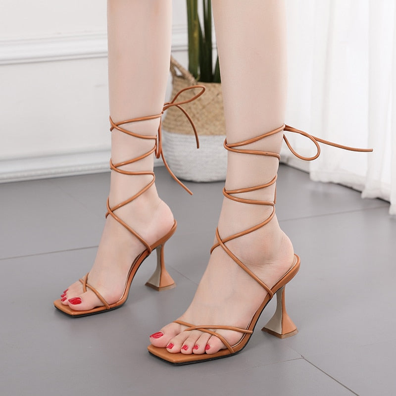 Ankle Cross Strap Hoof High Heels Gladiator Women's Brown Sandals