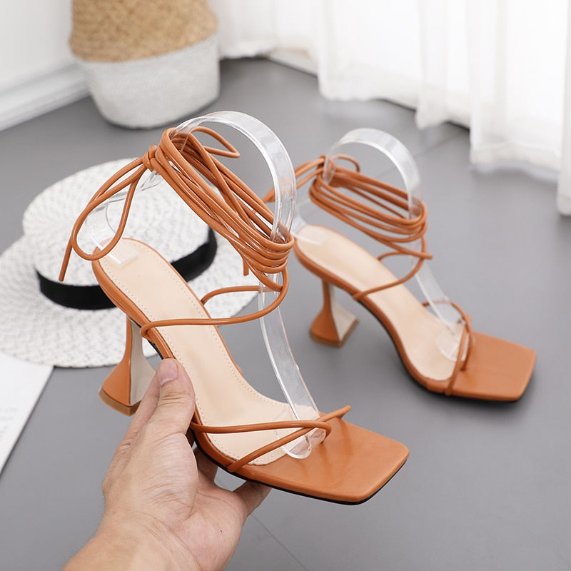 Ankle Cross Strap Hoof High Heels Gladiator Women's Sandals