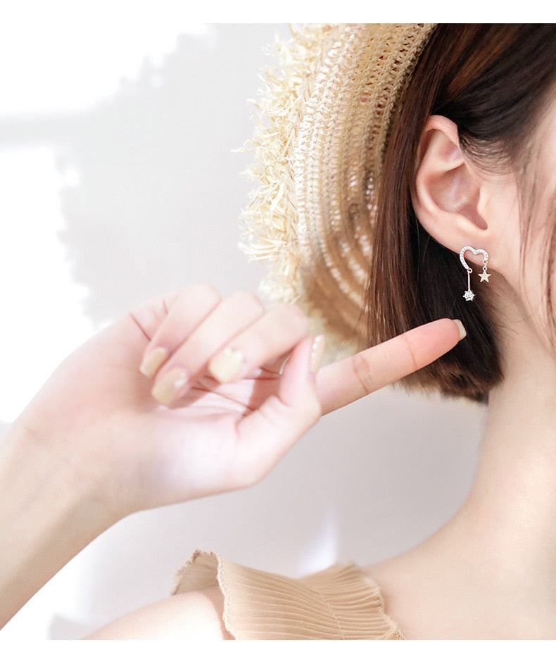 Heart-Shaped Star Sud Earrings For Women