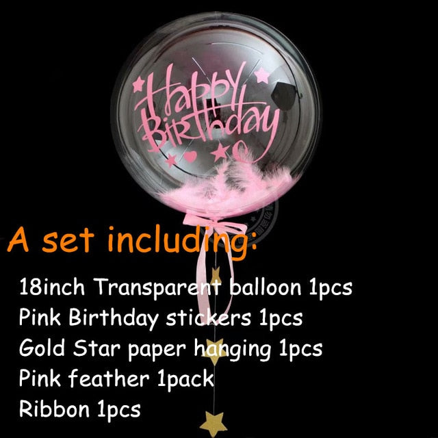 No Wrinkle Happy Birthday Helium Transparent Balloons Set
