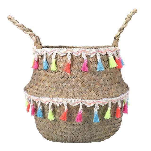 Handmade Seagrass Wicker Storage Baskets With Tassel