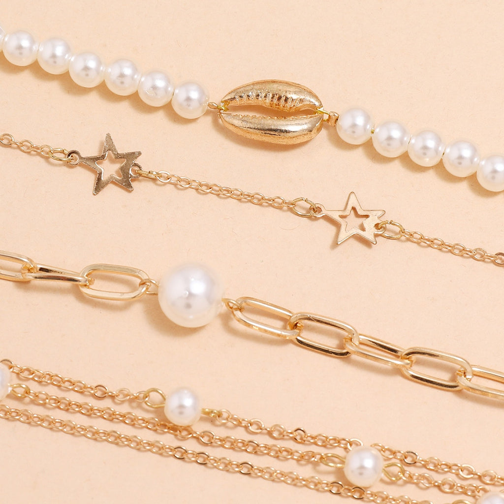 Boho Punk Gothic Imitation Pearls Lock Link Bracelets For Women
