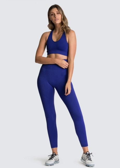 Hyperflex Seamless Sports Women's Blue Leggings & Top Set