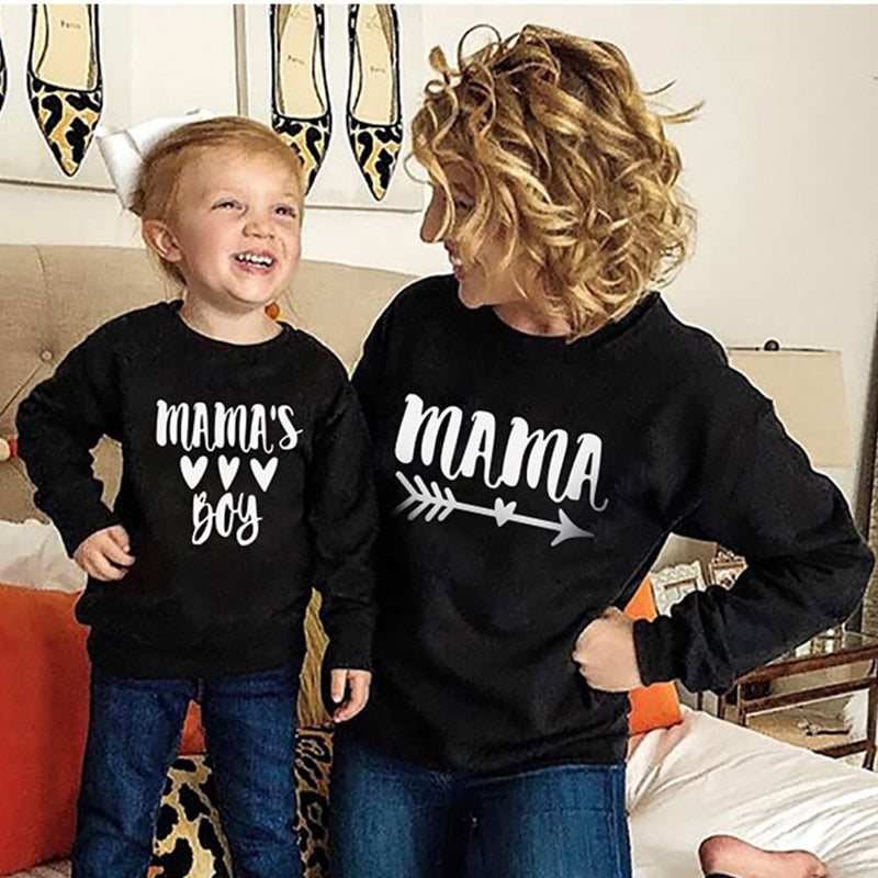 Cotton Letter Printed Mother & Son Matching Sweatshirt
