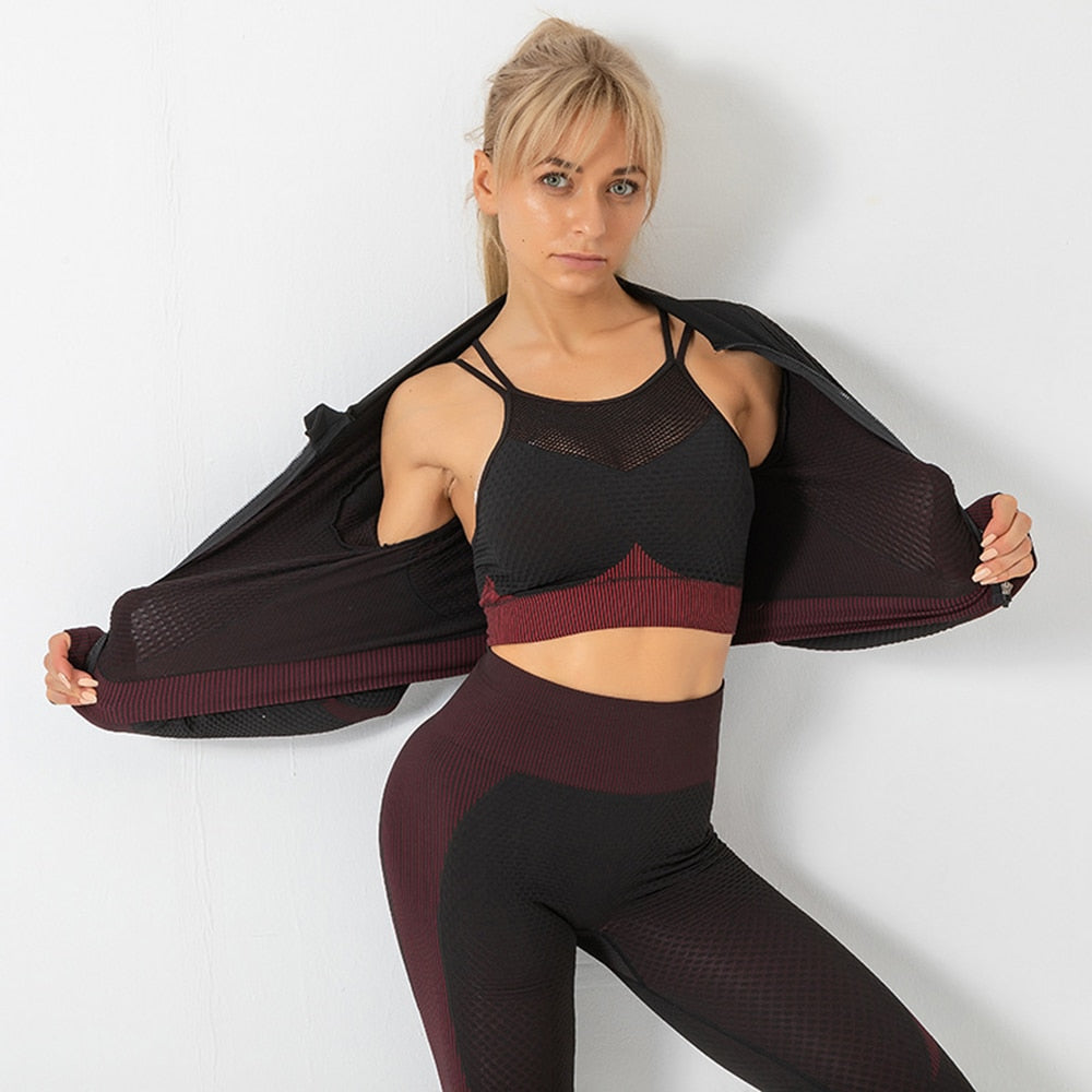 Elastic Waist Breathable Seamless Women Sports Yoga Suit Sets