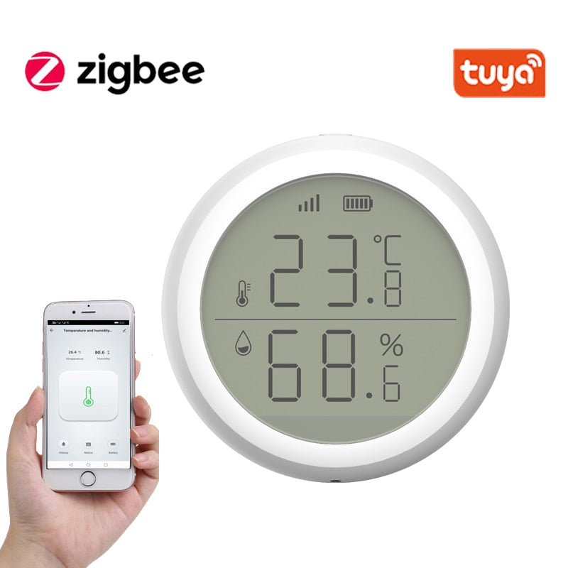 Smart Home Tuya ZigBee Temperature & Humidity Sensor With LED Screen