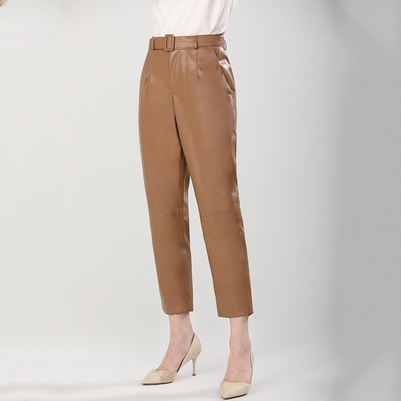 Luxury Solid Color PU Leather Ankle-Length Women Pants With Belt