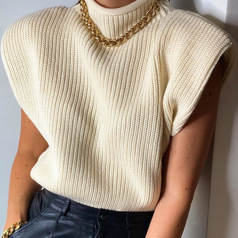 Turtleneck Sleeveless Padded Yellow Knitted Pullover For Women