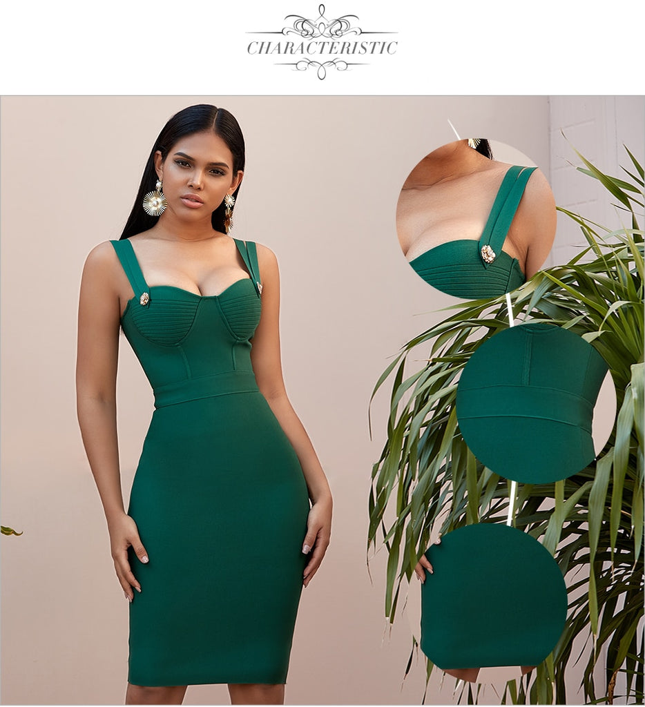 Spaghetti Strap Bandage Party Green Mini Dress