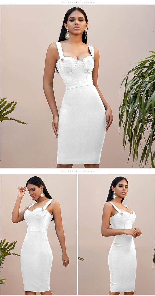 Spaghetti Strap Bandage Party Mini White Dress