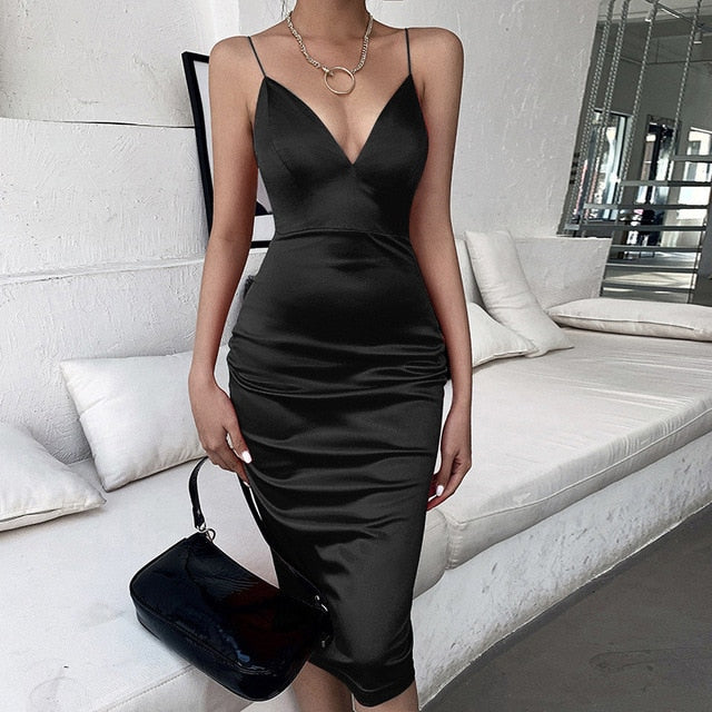 Spaghetti Strap V-neck Satin Midi Black Dress