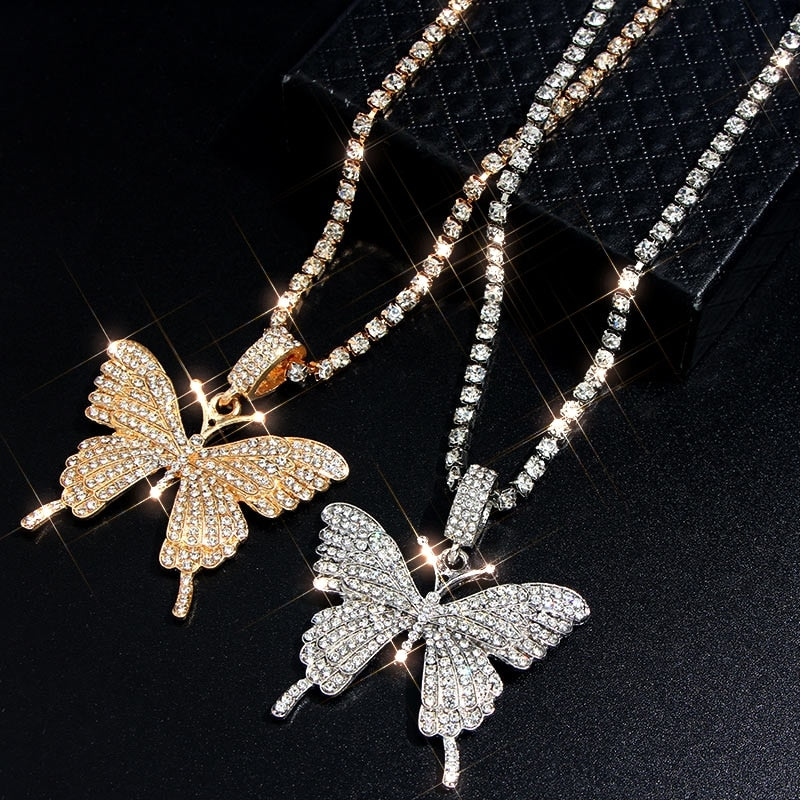 Big Butterfly Rhinestone Chain Pendant Necklace For Women