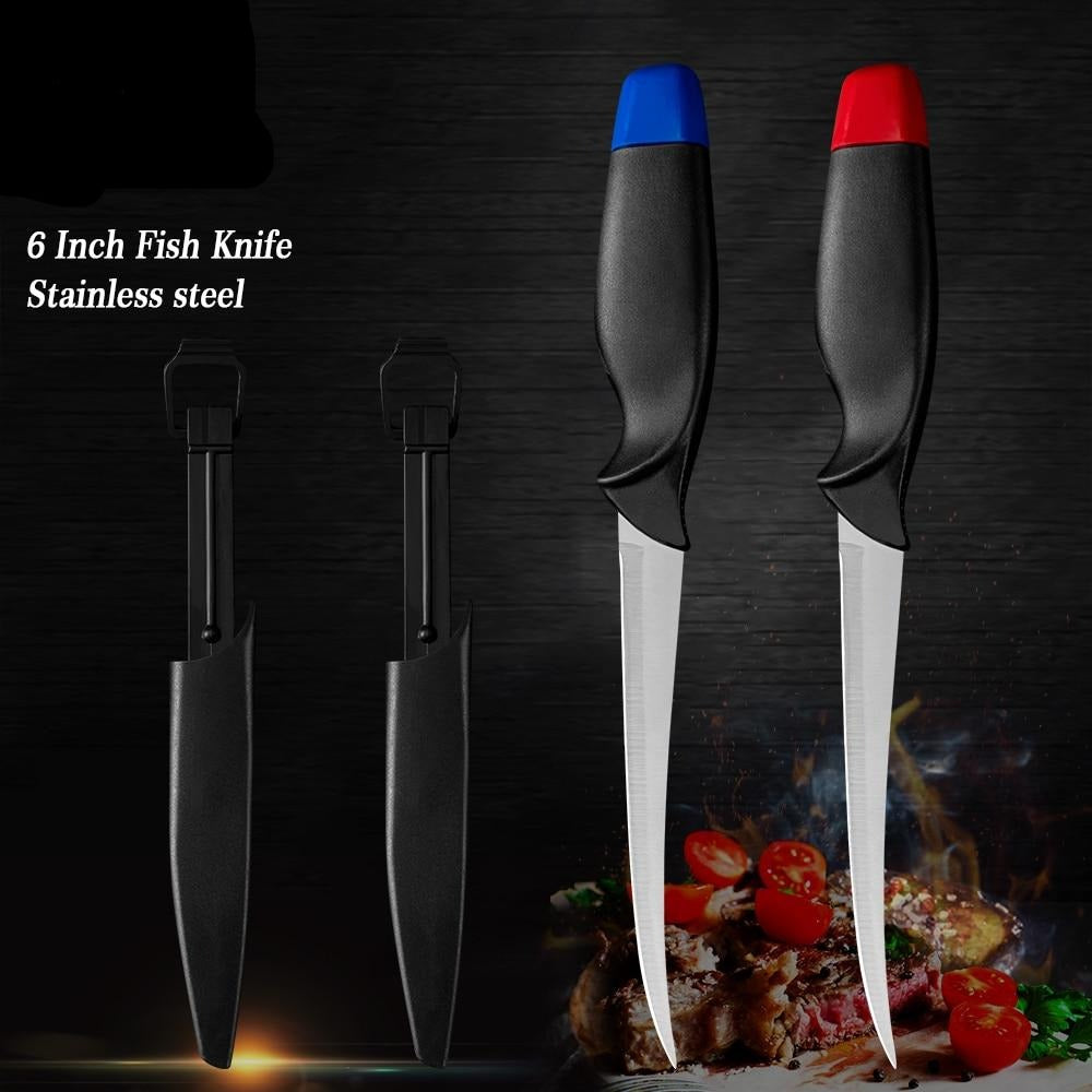 2 Pcs Stainless Steel Boning Fish Knife Set