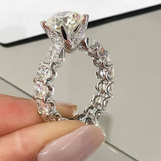 Luxury 925 Sterling Silver Engagement Ring Set For Women