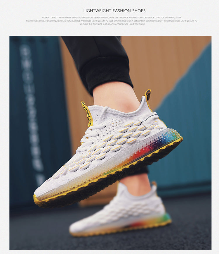Breathable Flying Weaving Mesh 4D Print Men's Sneakers