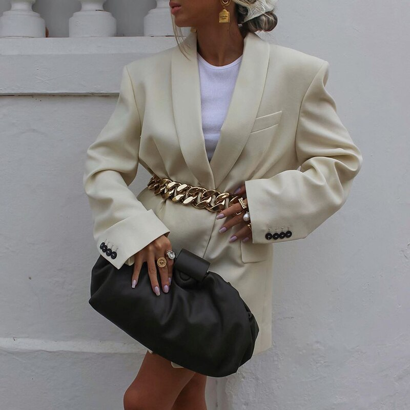 Notched Collar Loose Women Blazer With Chain Belt