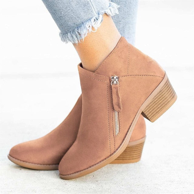 Pointed Toe Chunky Heels Zipper Women Ankle Boots