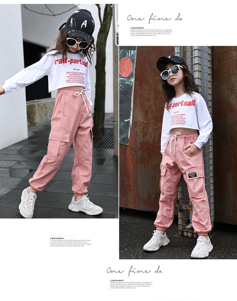 Multi-Pocket Cotton Cargo Girls Harem Pants For Girls