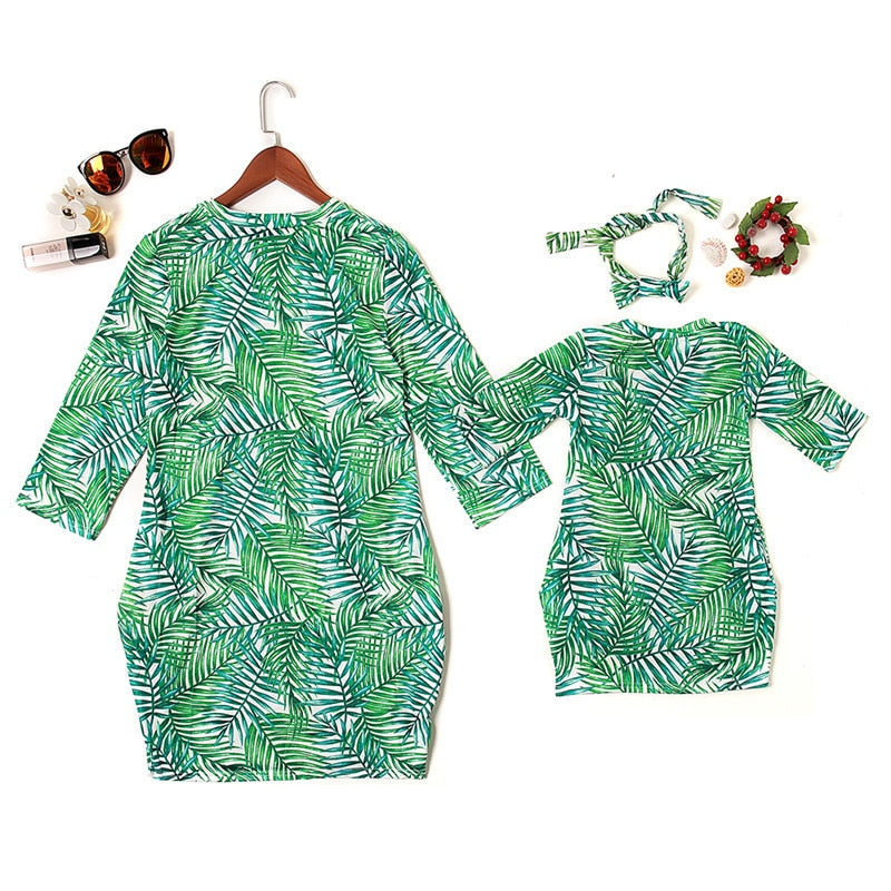 Green Leaf Printed Mother & Daughter Matching Dress