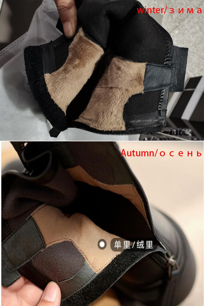 Elastic Round Toe Cowhide Women Ankle Boots