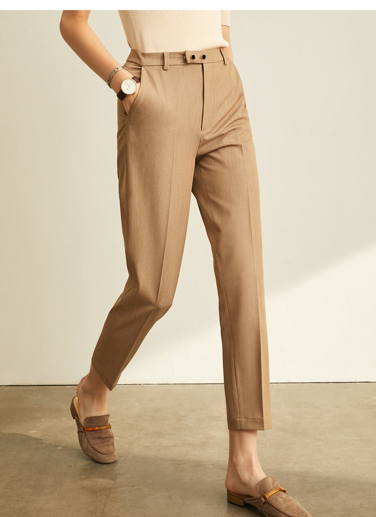 High Waist Slim Loose Straight Office Lady Brown Pants