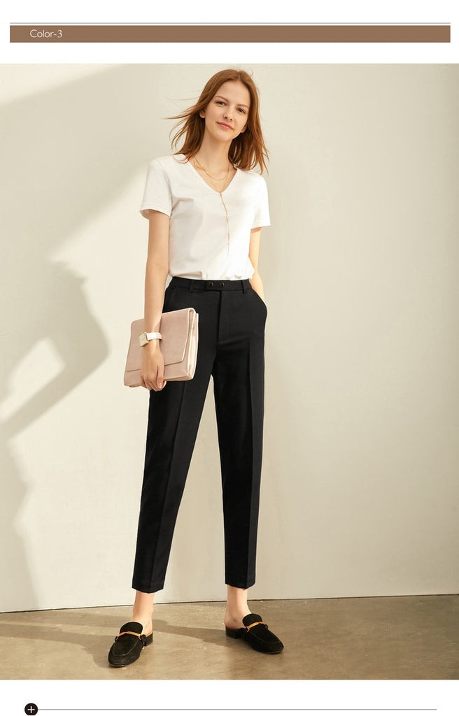 High Waist Slim Loose Straight Office Lady Pants
