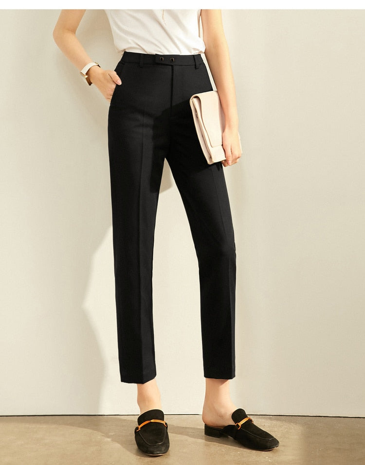 High Waist Slim Loose Straight Office Lady Black Pants