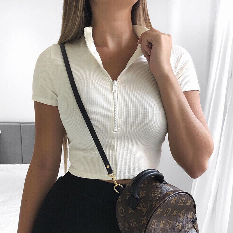 High Neck Slim Fit Zipper Solid Women's Croped Tops