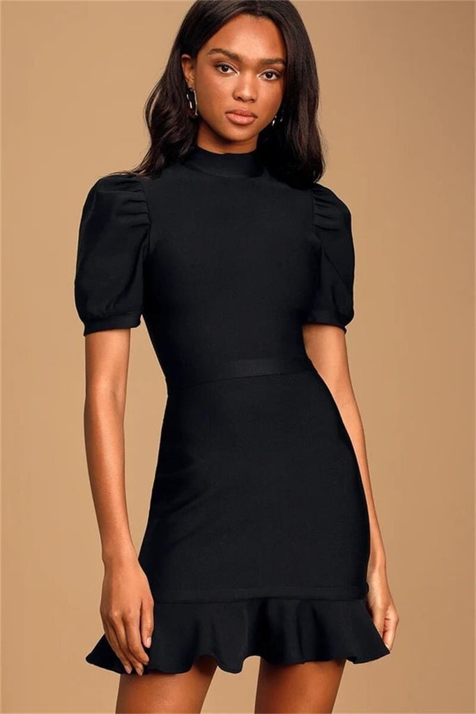 Elegant Short Sleeve Ruffles Rayon Bandage Black Dress