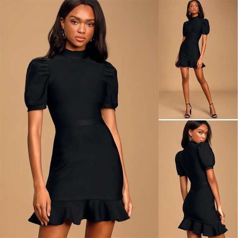 Elegant Short Sleeve Ruffles Rayon Bandage Dress