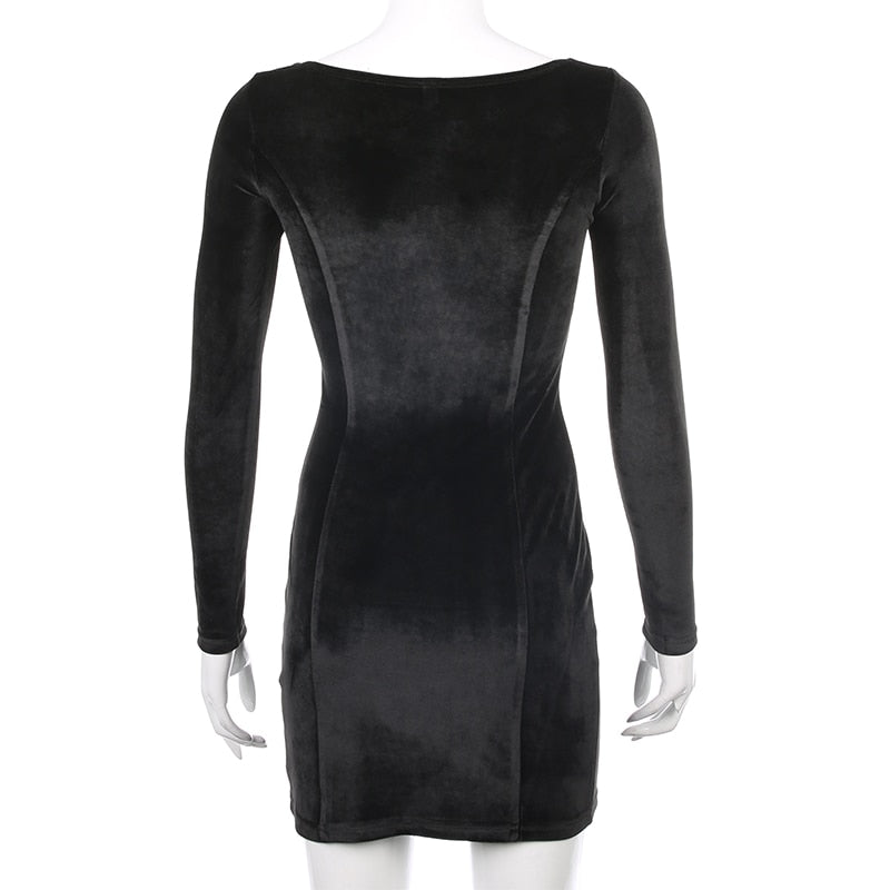 Bodycon Solid Split Velvet Mini Dress